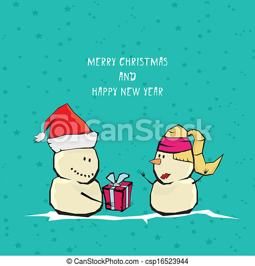 Vector comic cartoon merry christmas illustration - csp16523944