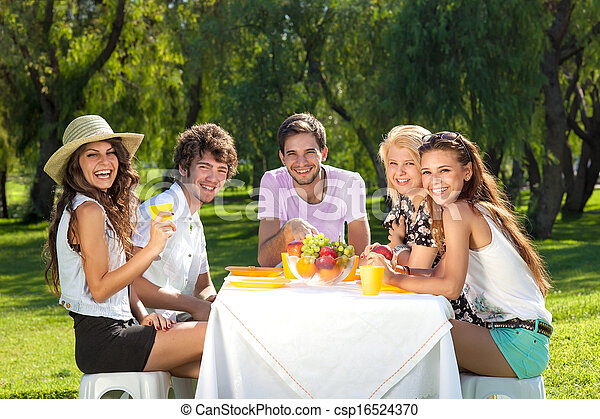 Group of young teenagers on a picnic