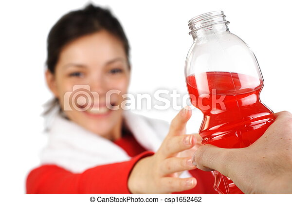 Fitness woman getting sports drink - csp1652462