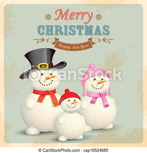 Snowman Family in Retro Christmas Background - csp16524680