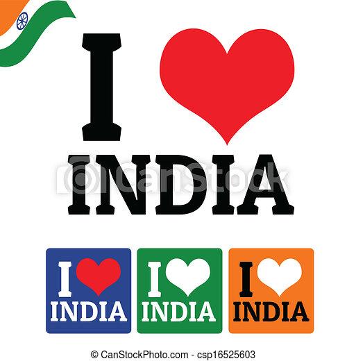 Clipart Vecteur de je, Amour, Inde, signe, Étiquettes ...