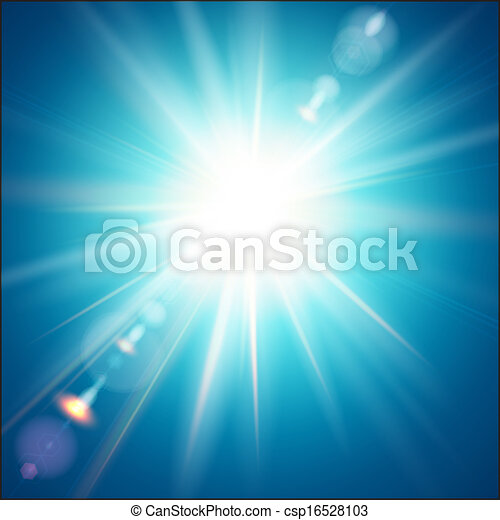 The bright sun shines on a blue sky background. - csp16528103