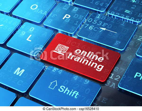 Education concept: Computer Pc and Online Training on computer keyboard background - csp16528410