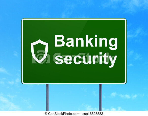 Protection concept: Banking Security and Contoured Shield on road sign background - csp16528583