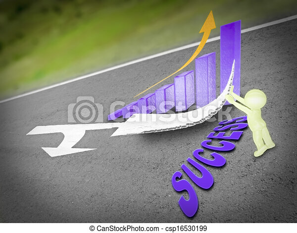Arrows are marked on a highway to show direction, Success Concept - csp16530199