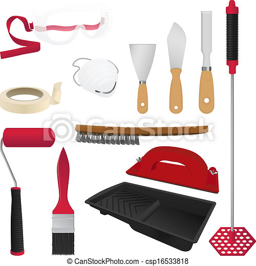 Vector clip art of painting tools a collection of 12 realistic vector csp16533818 search - Painting tool avis ...