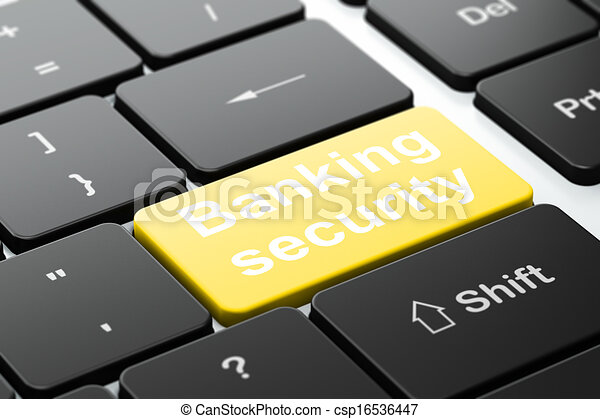 Safety concept: computer keyboard with word Banking Security, selected focus on enter button background, 3d render - csp16536447
