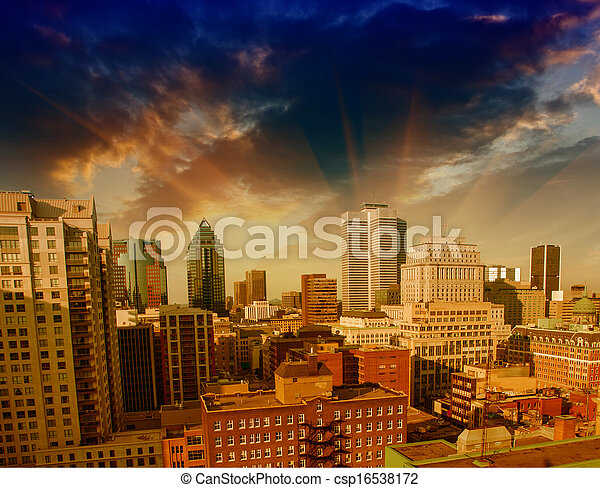 Dramatic sky above Montreal Buildings, Canada - Aerial view - csp16538172
