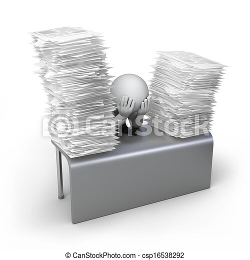 stock illustration of too much work  3d human and stack of documents 3d csp16538292 search tire clipart images free tires clip art