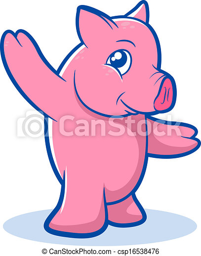 Vecteur mignon cochon dessin anim banque d - Dessin cochon debout ...