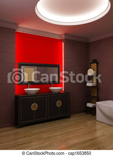 Asian style bathroom interior - csp1653850