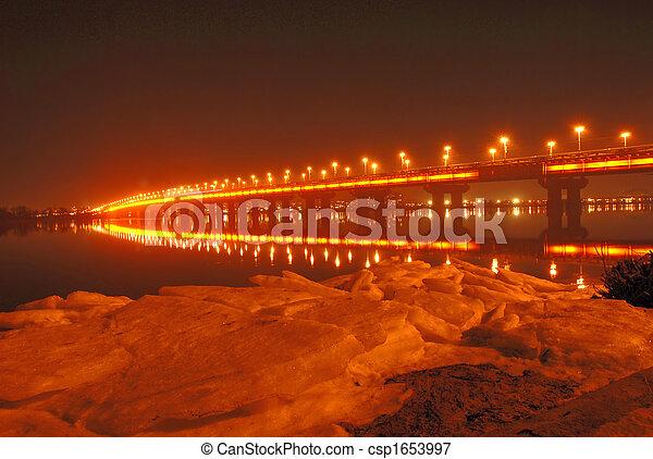 Paton Bridge at Night, Kiev, UA - csp1653997