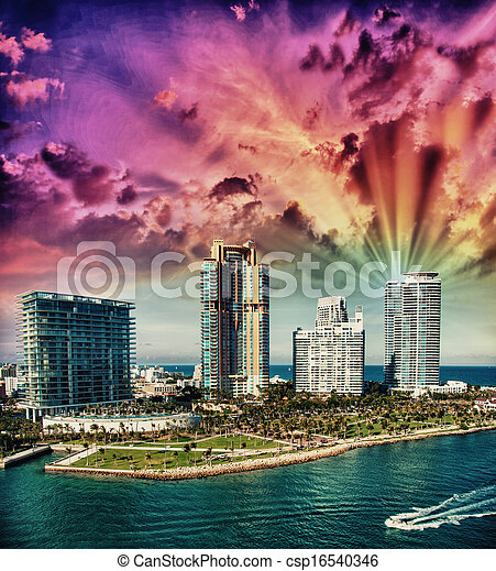 City of Miami Florida, colorful night panorama of downtown business and residential buildings. - csp16540346