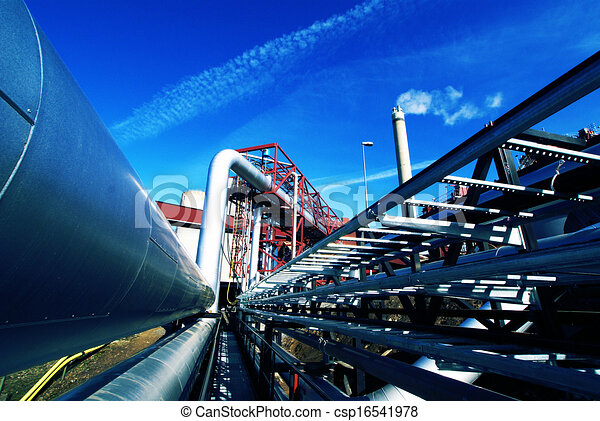 Industrial zone, Steel pipelines and valves against blue sky - csp16541978