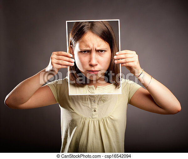 young girl with sad expression