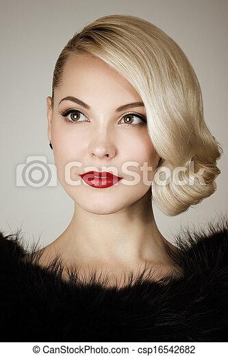 Retro portrait of a beautiful woman - csp16542682