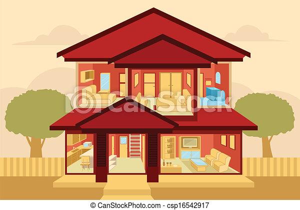 Vector clip art of modern home interior a vector for Modern house clipart