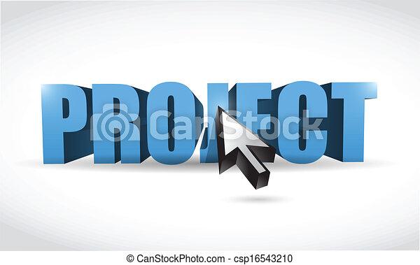 Vector Clip Art of project 3d word and cursor. illustration design ...