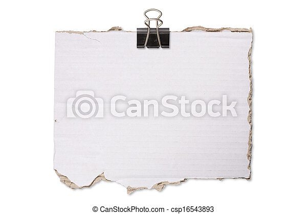 ripped crumpled piece of cardboard with paper clip, isolated on white.