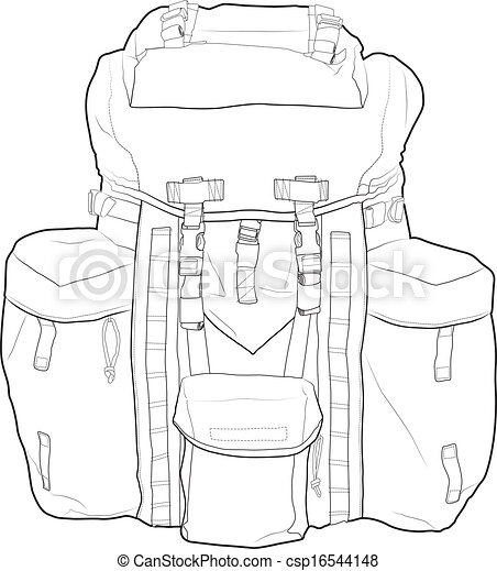 Military backpack vector outline - csp16544148