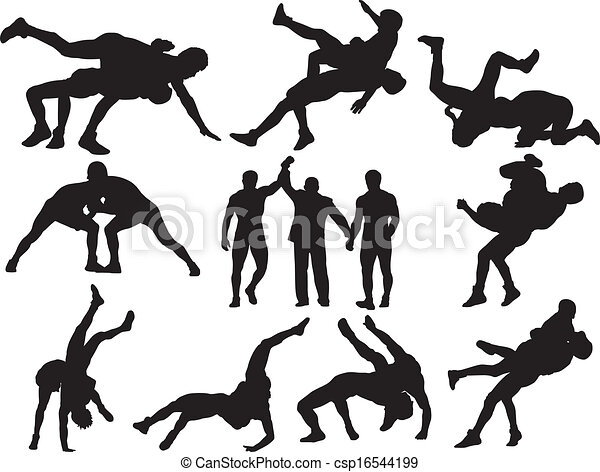 Wrestling Vector Silhouettes 16544199