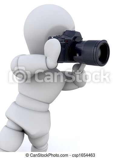 3D man using a camera - csp1654463