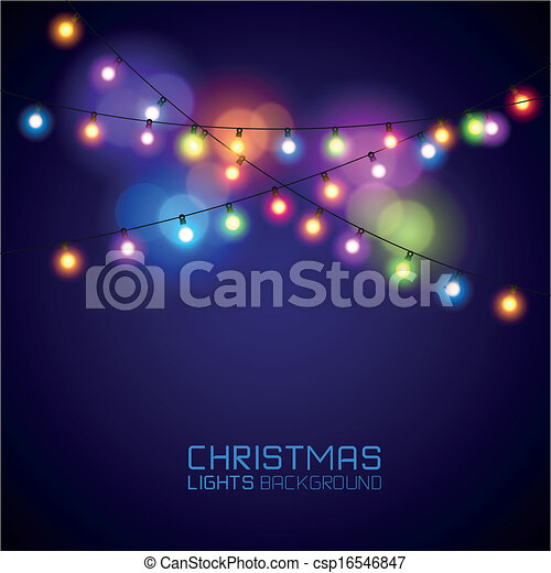 Colourful Glowing Christmas Lights - csp16546847