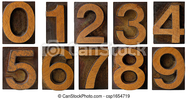 Letterpress Numbers 0 to 9 isolated
