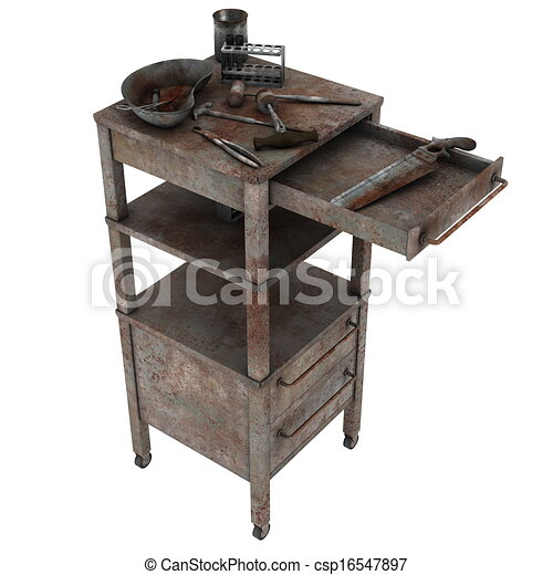 Stock Illustration of side table - medical appliance on the side table ...