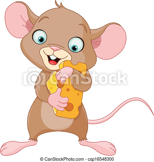 Mouse holding a piece of cheese - csp16548300