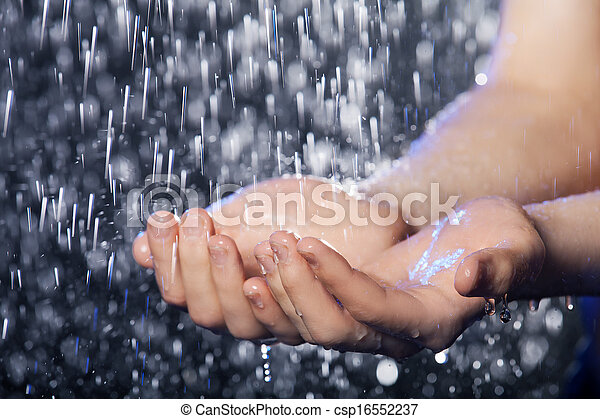 Falling water. Close-up of water falling on human hands - csp16552237