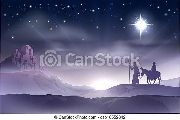 Mary and Joseph Nativity Christmas  - csp16552842