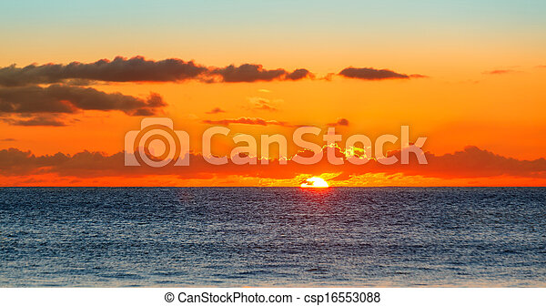 Sunset over the Sea, the Indian Ocean Seychelles - csp16553088