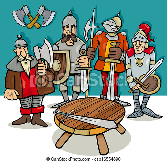 knights of the round table cartoon - csp16554890