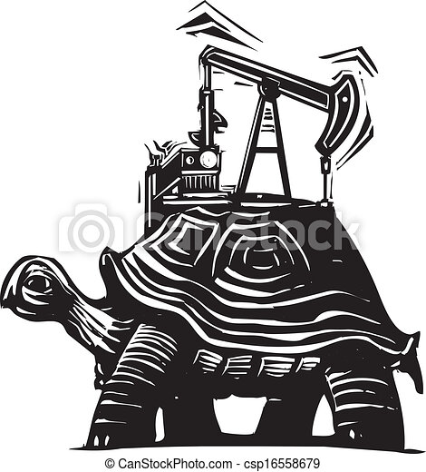 Vectors Illustration of Oil Well Turtle - Woodcut style image of a ...