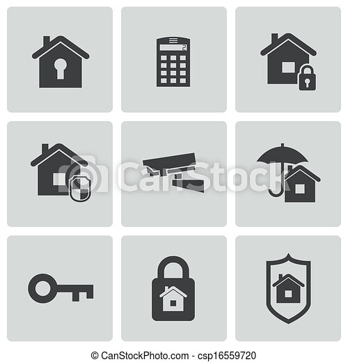 Vector black home security icons set - csp16559720
