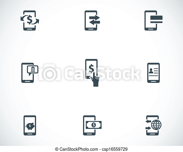 Vector black mobile banking icons set - csp16559729