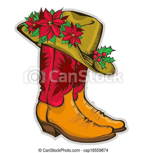 Christmas Cowboy boots and western hat with holiday decoration - csp16559874