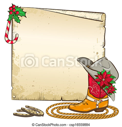 Christmas paper background with horseshoes and cowboy boot  - csp16559884