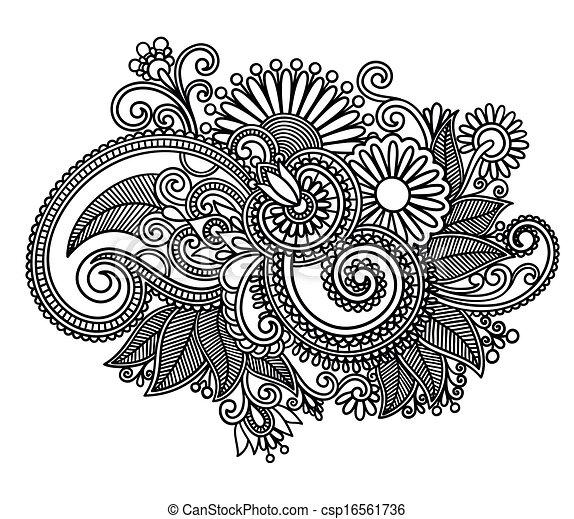 line art ornate flower design - csp16561736