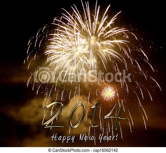 happy new year 2014 - firework by night - csp16562142