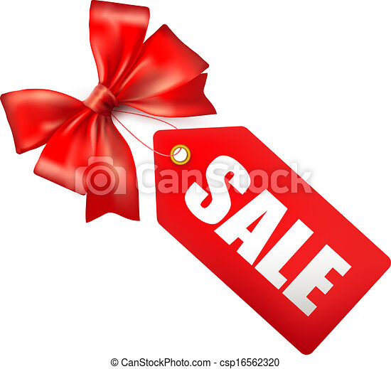 Sales tag with red gift bow. Vector illustration - csp16562320