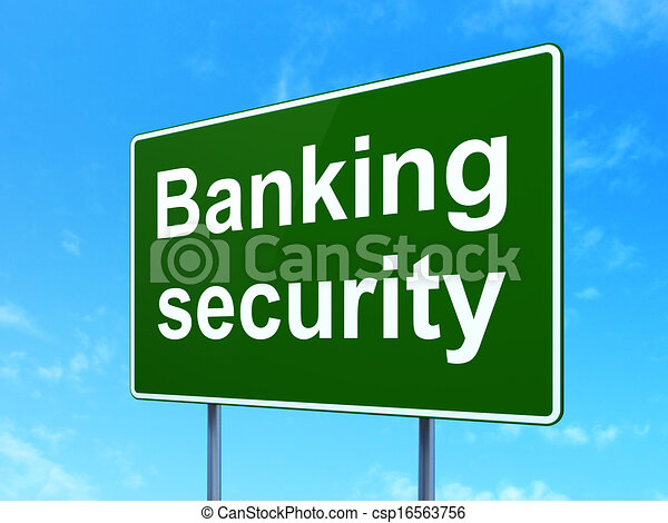 Security concept: Banking Security on road sign background - csp16563756