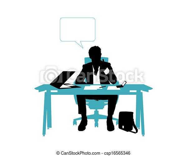 Dessin de sien bureau pens e assis bureau homme for Bureau homme