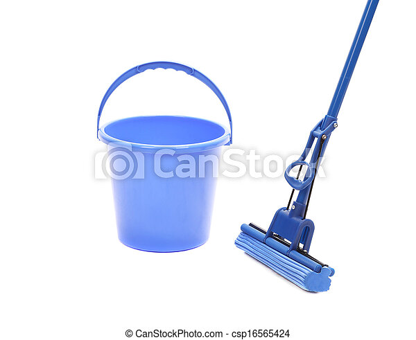 Washing the floor with cleaning tools. - csp16565424
