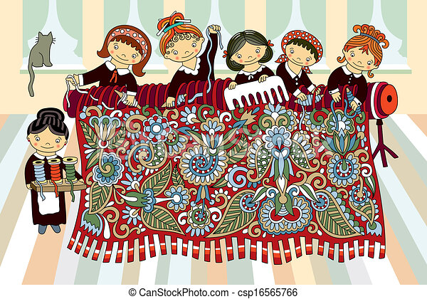 Clip Art Vector of girls working at the hand-loom weaving - Cute ...