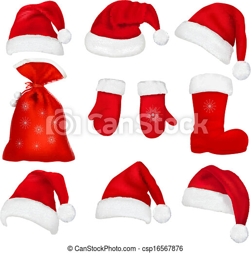 Big set of red santa hats and clothing. - csp16567876