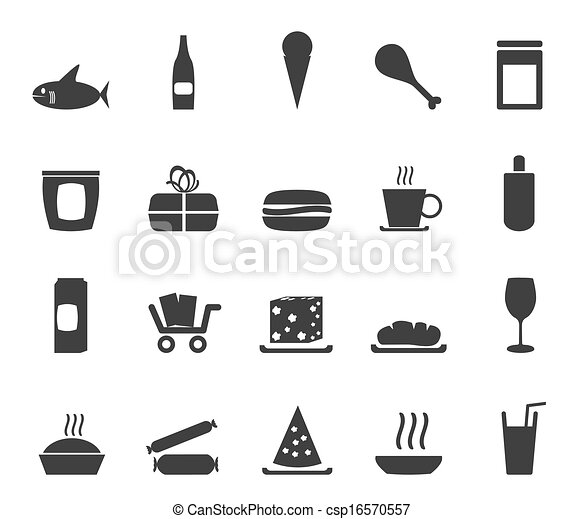 Silhouette Shop and Foods Icons - csp16570557