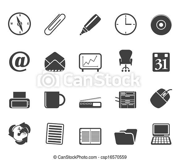 Clipart vectorial de silueta herramientas oficina for Herramientas de oficina