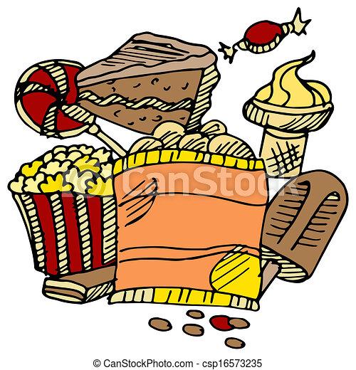 Unhealthy Foods Drawing Junk Food Snacks Csp16573235